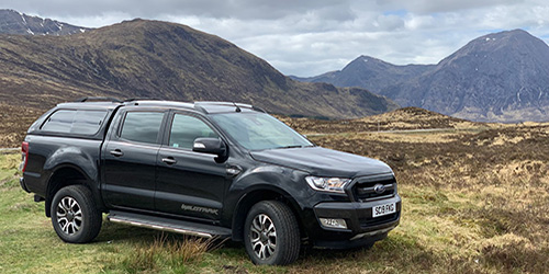 Ford Ranger in Scottish Highlands